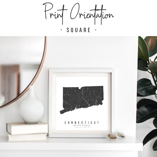 Connecticut Mono Black and White Modern Minimal Street Map Print