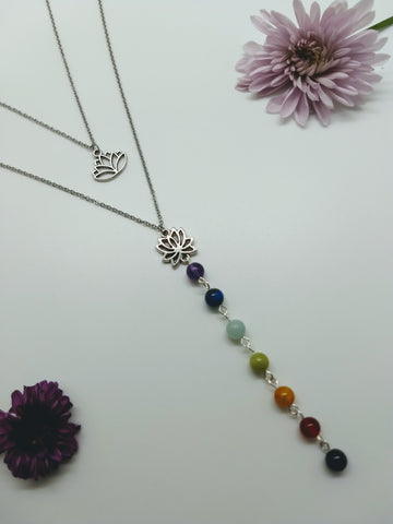 7 Stone Chakra Lotus Necklace Set