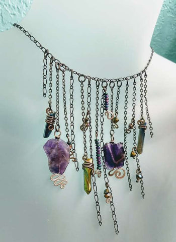 Bohemian Amethyst Treasure Trove Necklace and Earring Set