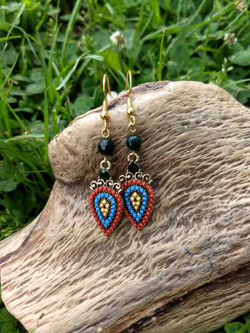 Retro Embellished Drop Earrings
