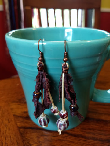 Boho Mixed Media Drop Earrings
