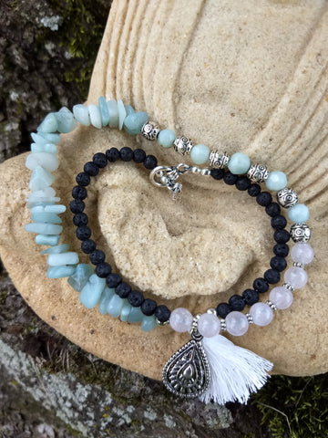 Amazonite, Rose Quartz, and Lava Rock Wrap Diffuser Bracelet