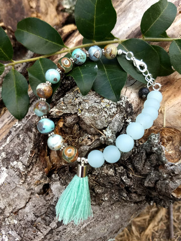 Tide Pools and Sea Foam 18 Bead Wrist Mala