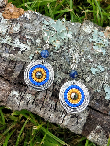 Lapis Lazuli Medallion Earrings