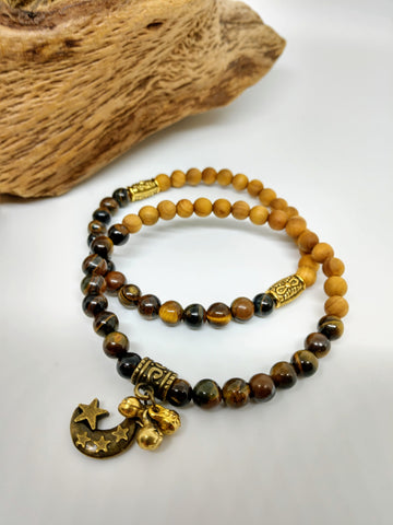 Tiger's Eye and Sandalwood Set