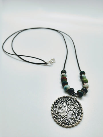Leather and Porcelain Tree of Life Necklace