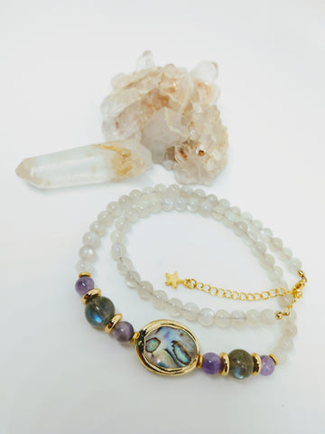 Moonstone and Abalone Necklace