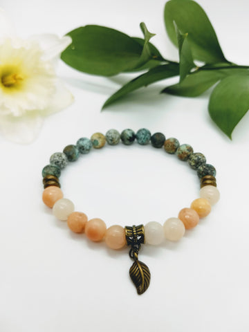 African Turquoise and Rose Aventurine Stretch Bracelet