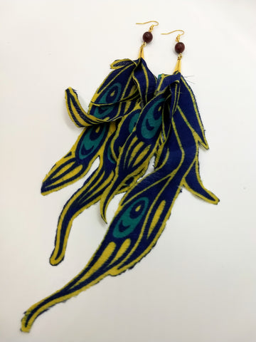 Vintage Silk Peacock Earrings