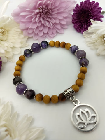 Charoite and Amethyst Stretch Bracelet