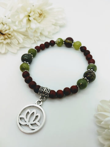 Dragon's Blood and Chinese Jade Stretch Bracelet