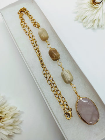 African Opal and Rose Quartz Necklace