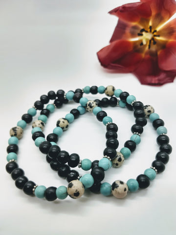 Dalmatian Jasper and Magnesite Stretch Bracelet