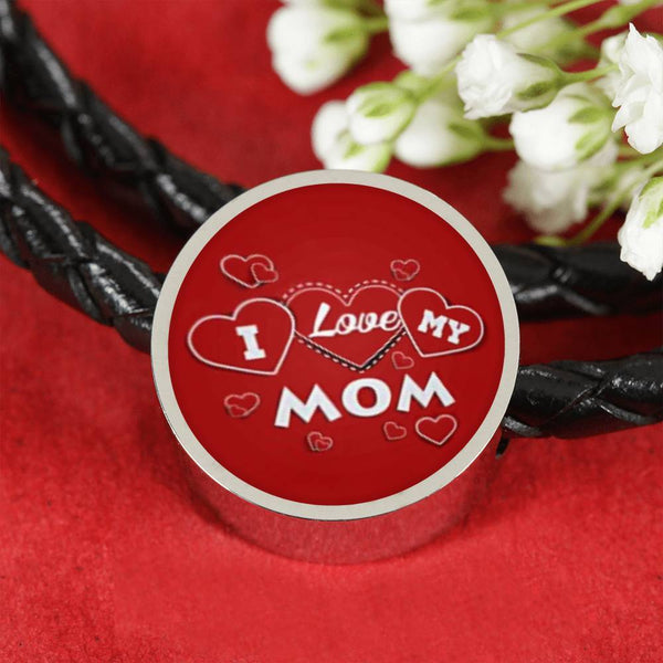 'I Love MY MOM' Red Print Circle Charm Leather Bracelet