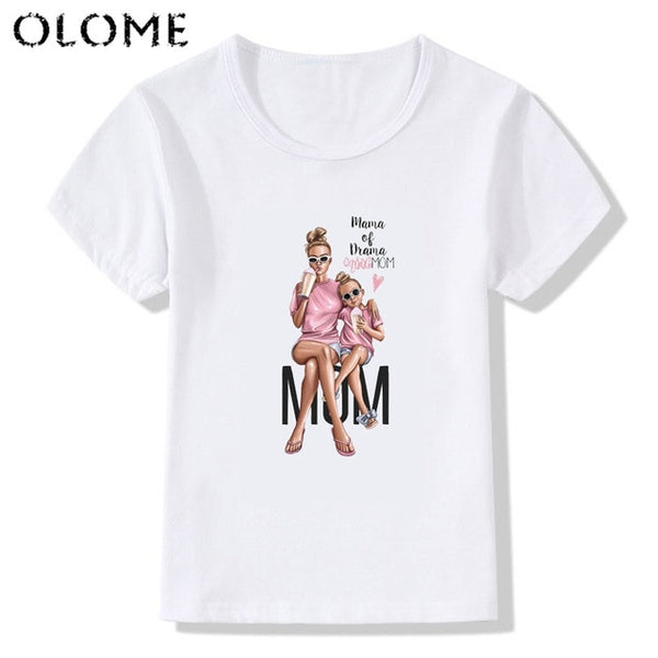 Matching Family Outfits Super Mom and Daughter Print tops Mother's Day Tshirt Gift for Mom and me Tee T-shirt Casual Camiseta