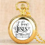 I Love Jesus Series Pocket Watch Classic Pocket Watches Clock Pendant Numerals Display with Necklace Chain Souvenir Gifts