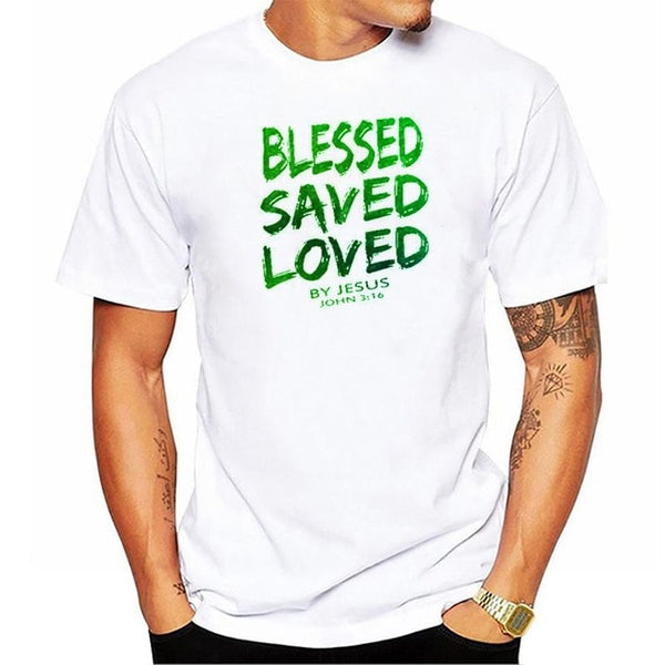 2019 New Summer Funny Tee Christian Jesus BLESSED SAVED LOVED John 3 16 Bible Lines Cotton T Shirt for men