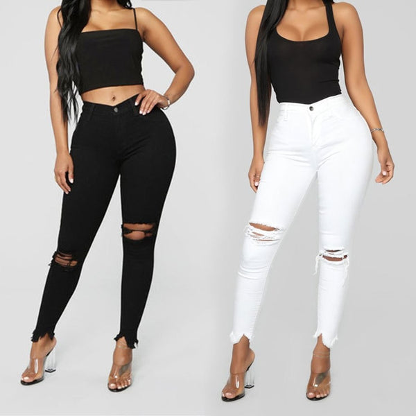 Black and white ripped jeans For women Slim denim jeans Casual Skinny pencil pants Fashion Women's clothing plus size S-3XL