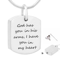 Cremation Jewelry for Ashes Waterproof Memorial Urn Pendant Necklace God Has You in His Arms I Have You in my Heart