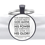 2020 New  Bible Verse God Alone. His Power And His Glory Design Glass Cabochon Metal Key Chain
