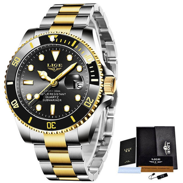 LIGE Top Brand Luxury Fashion Diver Watch Men 30ATM Waterproof Date Clock Sport Watches Mens Quartz Wristwatch Relogio Masculino