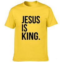 Jesus Is King Print Men Summer T-shirt Christian Religion God Faith T Shirt Men's Short Sleeve Clothing Tees Fashion Camisetas