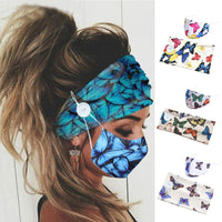 Print Elastic Hairbands for Women Fashion Headband Yoga Sport Turban Facial Fixture Mask Button Design Hair Band with Face Mask