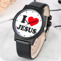 Fashion Jesus Loves Design Quartz Watch Black PU Leather Strap Men Watches Large Dial Unique Male Clock Gift relogios masculino