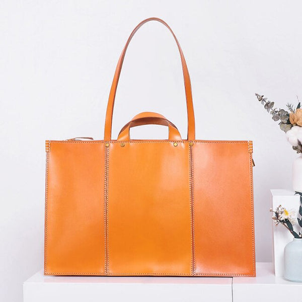 European Style Real Leather Handbags Women's Vegetable Tanned Leather Shoulder Tote Bag Trend Personality Solid Color Bag LB100