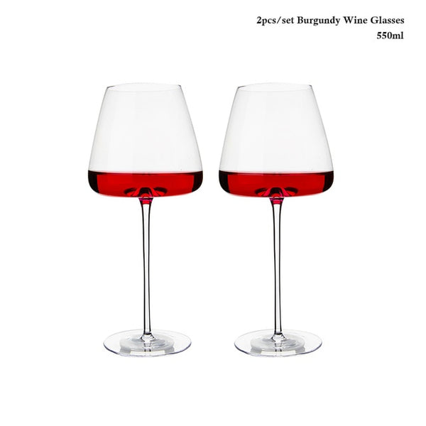 2pcs Goblet Wine Glass Kitchen Utensils Water Grap Champagne Glasses Bordeaux Burgundy Wedding Party Birthday Gift Lead-Free