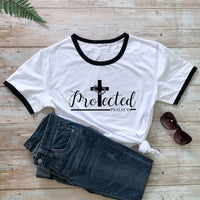 Protected Psalm 91 T-shirt Catholic Christian Church Tshirt Women Religious Jesus Bible Quote Top Tee Shirt