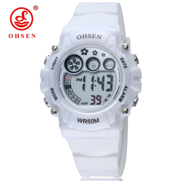 2016 OHSEN Women Sports Watch Plastic Strap 50M Diver LED Digital Wristwatches Jelly Color Water Proof Clocks Watches for Ladies