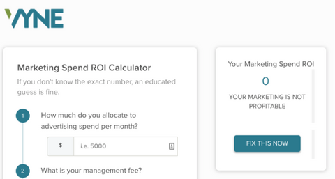 marketing roi calculator from vyne