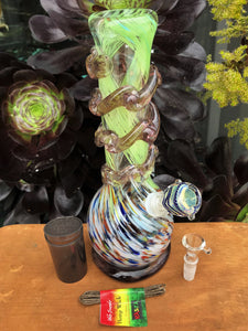 "Thick Soft Glass 11"" Hookah Water Bong Glass on Glass Pop Top Cont Hemp Wick"