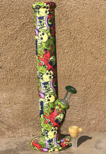 "14"" Best Silicone! Straight Bong with Graphic Design & 2-14mm Slide Bowls & Ice Catcher"