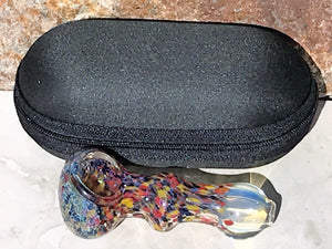 "New! 3.5"" Confetti Fumed Handmade Glass Spoon Hand Pipe Zipper Padded Case"
