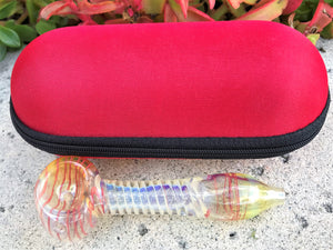 "4.5"" Swirl Fumed Glass Handmade Best Hand Pipe w/ Zipper Padded Hard Case - Volo Smoke and Vape"