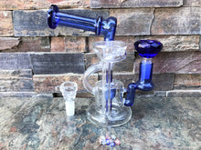 "Best 7"" Thick Glass, Water Recycler Rig with 2-Thick Glass Bowls & Glass Star Screens"