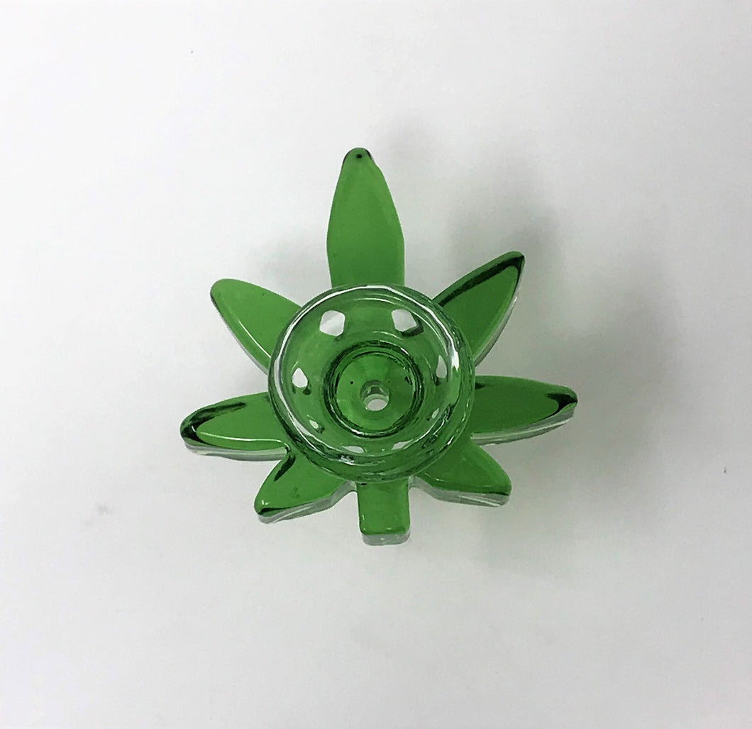 New! 14mm Male Marijuana Leaf Bowl made with Thick Glass