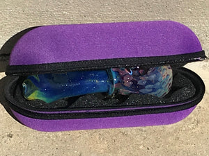 "Glass Handmade Best 5"" Spoon Pipe Zipper Padded Hard Case Pouch - Violet - Volo Smoke and Vape"