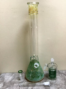 "18"" Fumed Glass Best Beaker Bong with Ice Catchers, 11 Arm Ash Catcher & 14mm Bowl"