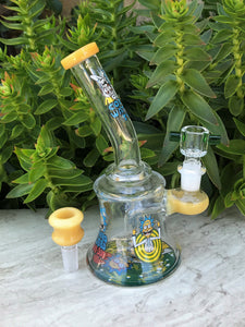 Thick Glass Shower Perc Rig Pipe Rick & Morty Beaker 2 -Slide Bowls - Lemon Up