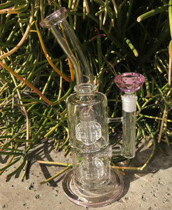 "Best 11"" Thick Glass Double Shower & Dome Perc Rig & Pink Glass Diamond Bowl - Bubble Gum"