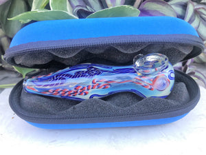 "Thick Glass 4.5"" Handmade Best Hand Pipe with Zipper Padded Hard Case Pouch-Blue - Volo Smoke and Vape"