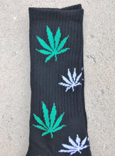 Mad Toro Socks Black with Green & White Leaves - 1 Pair