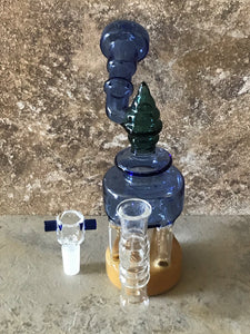 "7.5"" Unique Thick Glass Rig, Water Recycler & 14mm Slide Bowl w/Screen"