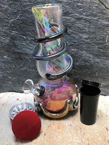 "Best 8"" Soft Glass Water Bong Slide in Stem w/Herb Bowl Grinder Pop Top Bottle - Volo Smoke and Vape"