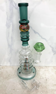 "9.5"" Glass Bong w/Trapped Marble Neck and Shower Perc, 14mm Male Quartz Banger + Extras"