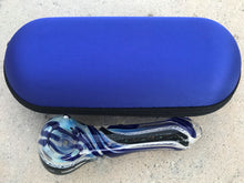 "Thick Glass 4"" Dicro Fumed Glass Spoon Hand Pipe w/Zipper Padded Case - Blue"