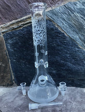"14"" Thick Glass Beaker Bong Tree of Life Design Ice Catchers 2 - 14mm Bowls"